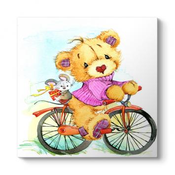 Bisiklette Ayıcık Ve Tavşan Tablosu
