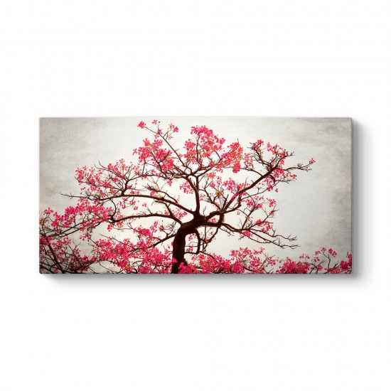 Pembe Yapraklı Ağaç Kanvas Tablo