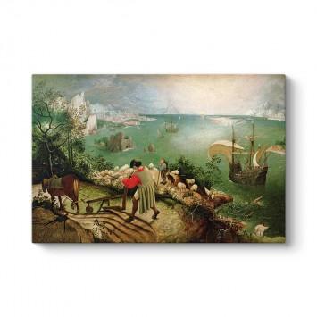 Pieter Brueghel - İkarus'un Düşüşü Kanvas Tablo