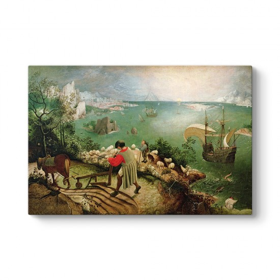 Pieter Brueghel - İkarusun Düşüşü Kanvas Tablo