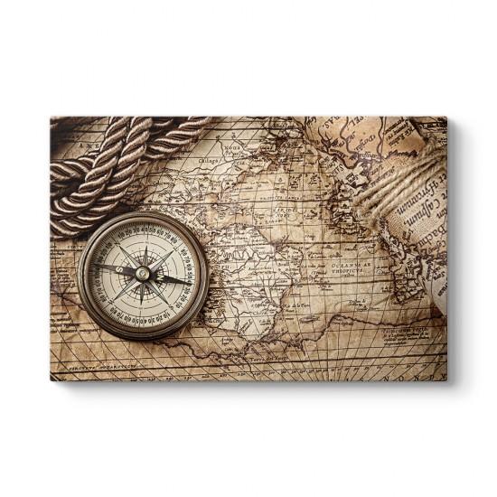 Pusula ve Eski Harita Kanvas Tablo