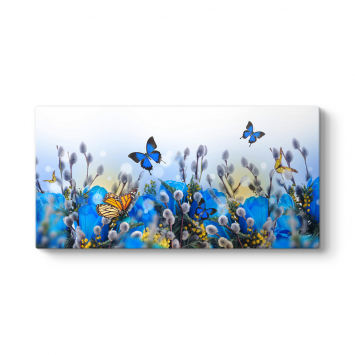 Uçuşan Mavi Kelebekler Tablosu