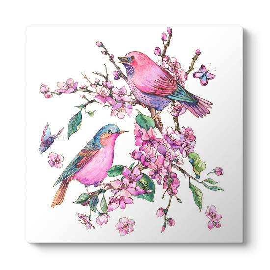 Bahar Temalı Kuşlar Kanvas Tablo