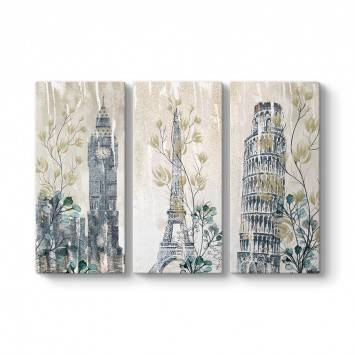 Big Ben - Eiffel - Pisa 3 Parçalı Kanvas Tablo