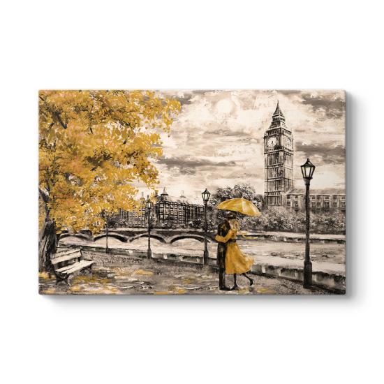 Big Ben ve Sarı Yapraklar Kanvas Tablo