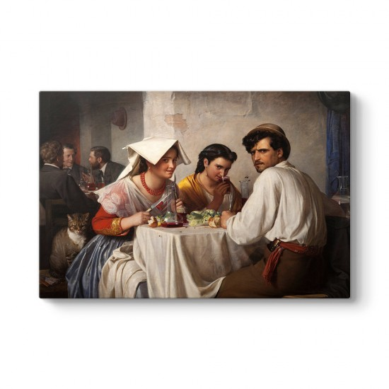 Carl Bloch - In a Roman Osteria Tablosu