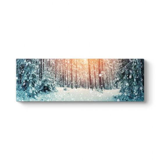Karla Kaplı Çam Ağaçları Kanvas Tablo