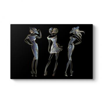 Moda Stil Kadın Kanvas Tablo