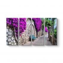 Mor Çiçekli Yol Kanvas Tablo
