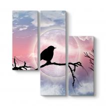 Seçe Kuşu ve Dolunay Kanvas Tablo