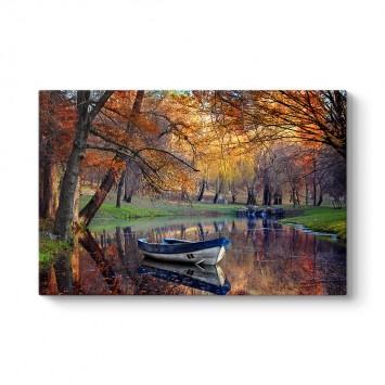 Sonbahar Göl Kenarı Tablosu