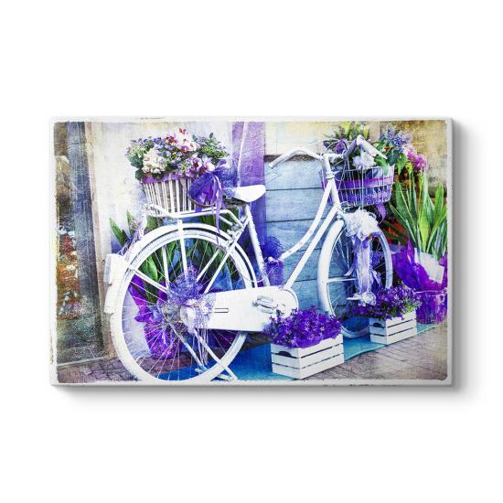 Vintage Mor Çiçekli Bisiklet