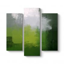 Yeşil ve Gri Soyut Kanvas Tablo