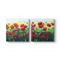 Çiçek Soyut Panorama Tablo