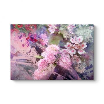 Pembe Beyaz Çiçekler Tablosu