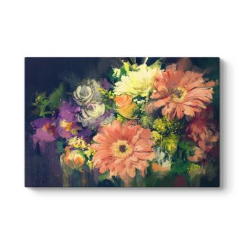 Rengarenk Gerbera Çiçekleri Tablosu