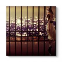 Kadın ve Şehir Manzarası Tablosu