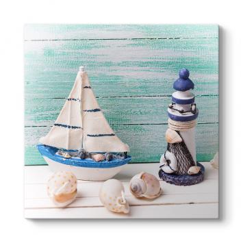 Minyatür Tekne Ve Deniz Feneri Tablosu