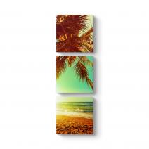 Gün Batımı Sahil ve Palmiyeler Tablosu