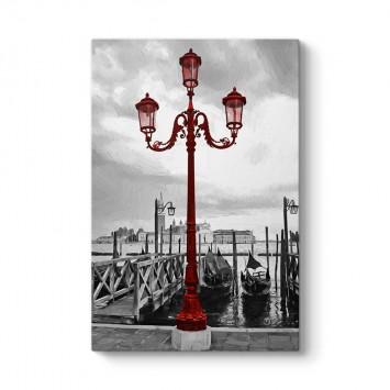 Venedik Kırmızı Sokak Lambası Tablosu