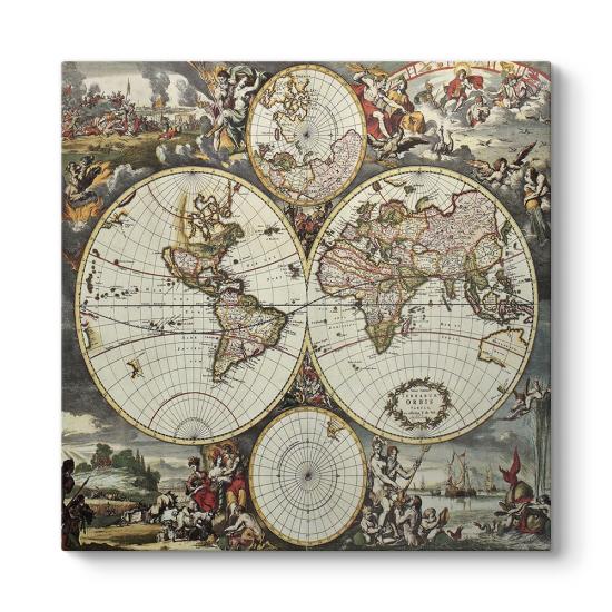 Antik (1690) Dünya Haritası Tablosu