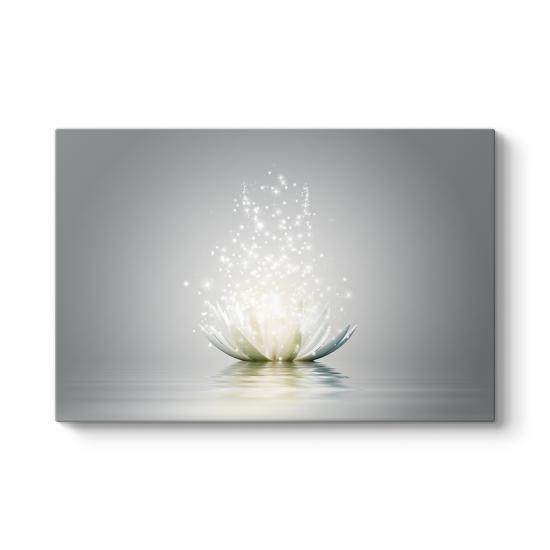 Işıltılı Gri Nilüfer Çiçeği Tablosu