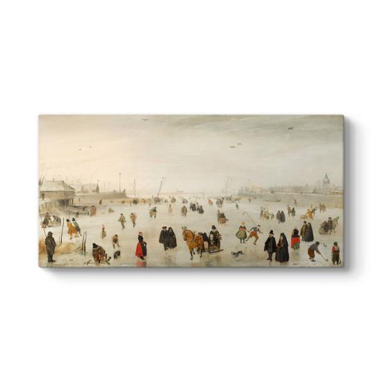 Hendrick Avercamp - A Scene on the Ice Tablosu