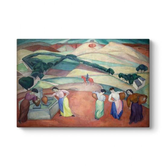 Diego Rivera - At the Fountain of Toledo Tablosu
