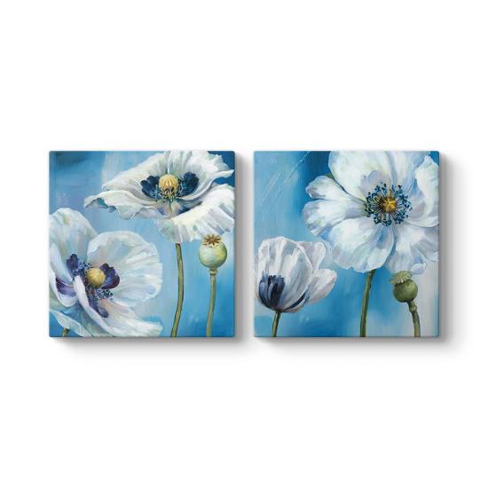 Turkuaz Mavi Çiçekler Tablosu