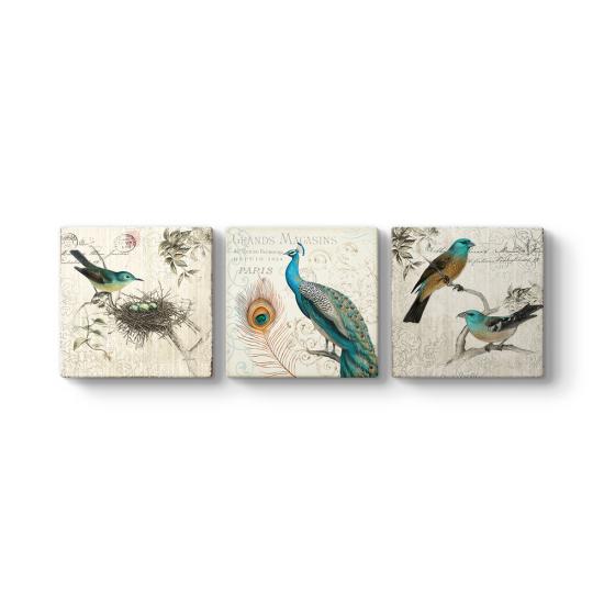 Kuşlar 3 Parçalı Tablo