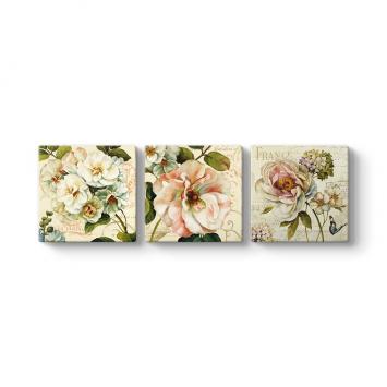 Modern Çiçekler 3 Parçalı Tablo