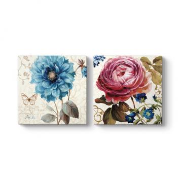Mavi Pembe Çiçekler Tablosu