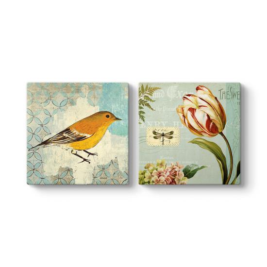 Dekoratif Kuş ve Çiçek Tablosu
