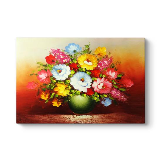 Yağlıboya Vazodaki Çiçekler Tablosu