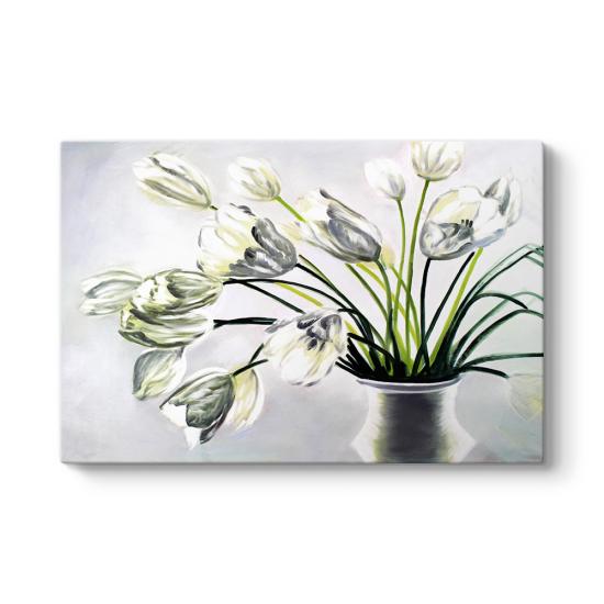Beyaz Çiçekler Duvar Tablosu