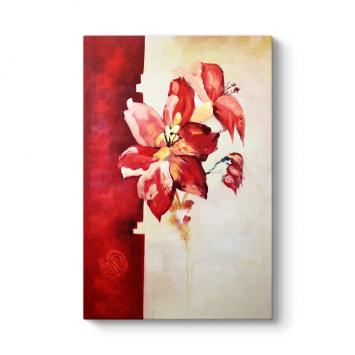Soyut Kırmızı Çiçek Panosu
