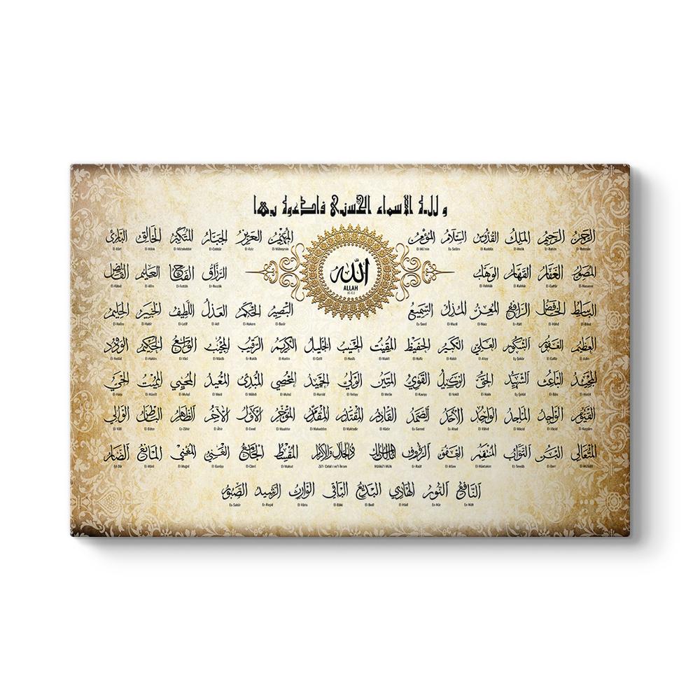 Allahn 99 Smi Esma L Hsna Tablosu
