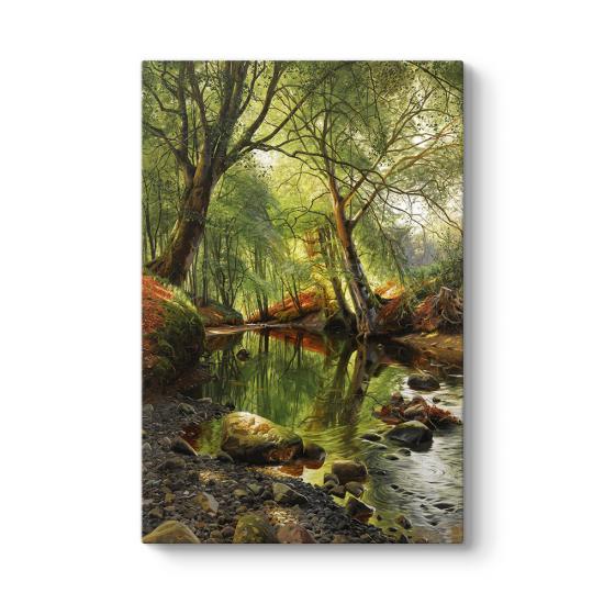 Peder Mork Monsted - A Woodland Stream Tablosu