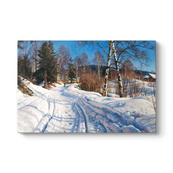 Peder Mork Monsted - Sunlit Winter Landscape Tablosu