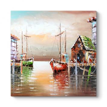 Yağlıboya Tekneler ve Liman Tablosu