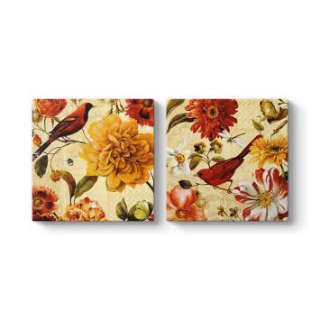 Kuşlar ve Çiçekler Duvar Tablosu