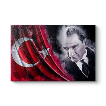 Türk Bayraklı Atatürk Tablosu