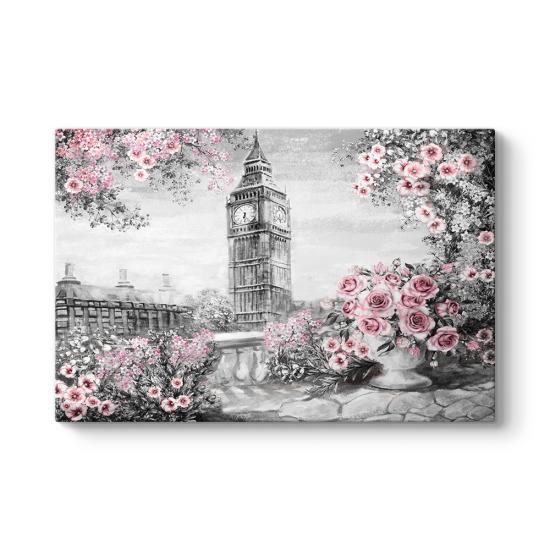 Saat Kulesi ve Pembe Çiçekler Tablosu