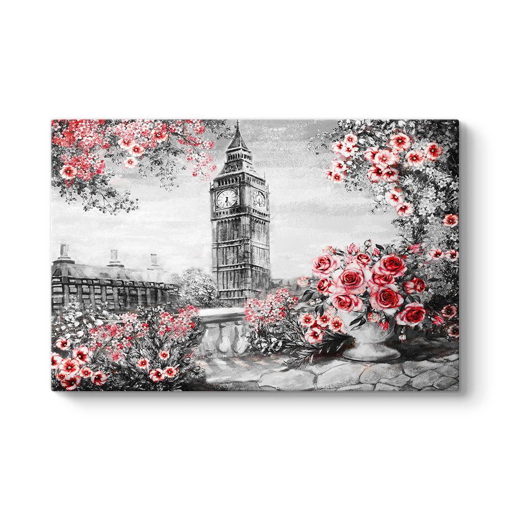 Saat Kulesi ve Kırmızı Çiçekler Tablosu
