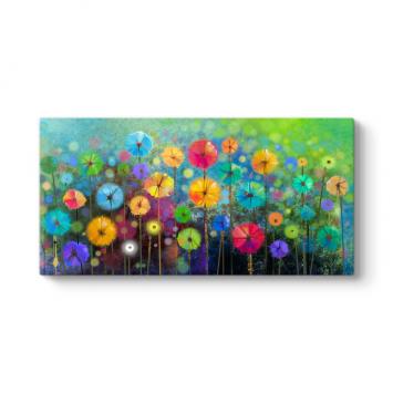 Modern Renkli Çiçekler Tablosu