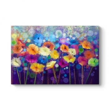 Renkli Gece Çiçekleri Tablosu