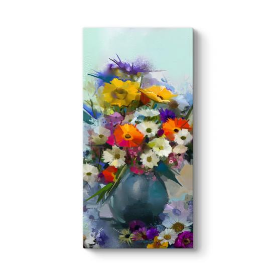 Vazoda Renkli Çiçekler Tablosu