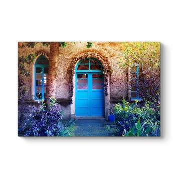 Mavi Kapı ve Pencereli Ev Tablosu