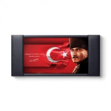 Modern Tasarım Atatürk Deri Çerçeveli Pano