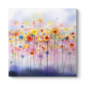 Flu Renkli Çiçekler Tablosu